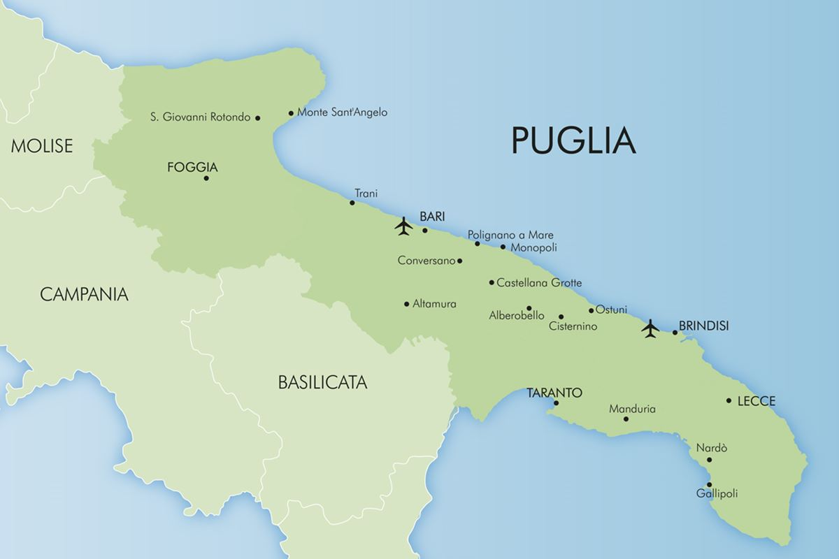 Large Map Of Italy With Regions.Luxury Puglia Holidays Italy 2019 20 Simpson Travel